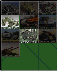 screenshot of the distortions in the build menu. Check out white pixels in the Kamatsu.